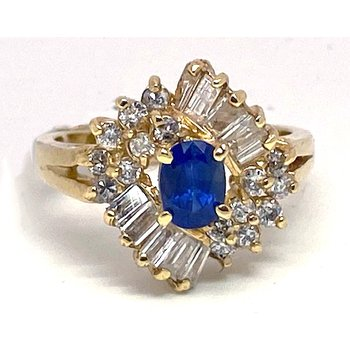 Lady's vintage sapphire, diamond and yellow gold ring