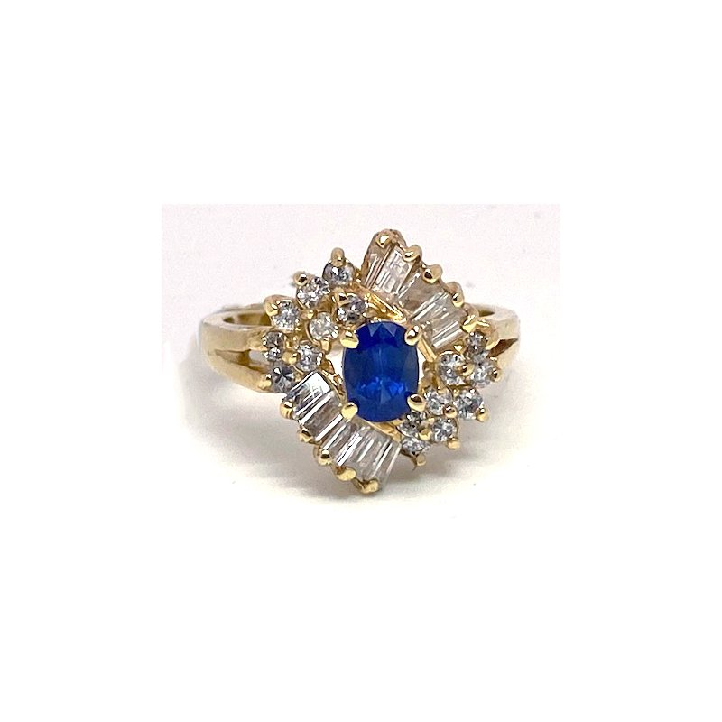 Estate & Vintage Lady's vintage sapphire, diamond and yellow gold ring