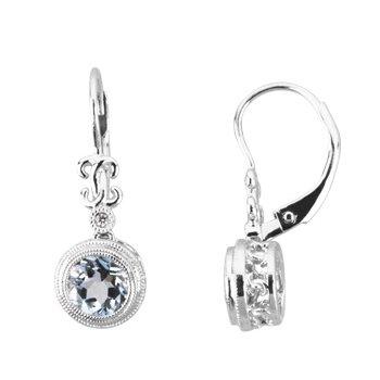 Genuine Aquamarine & Diamond Earrings