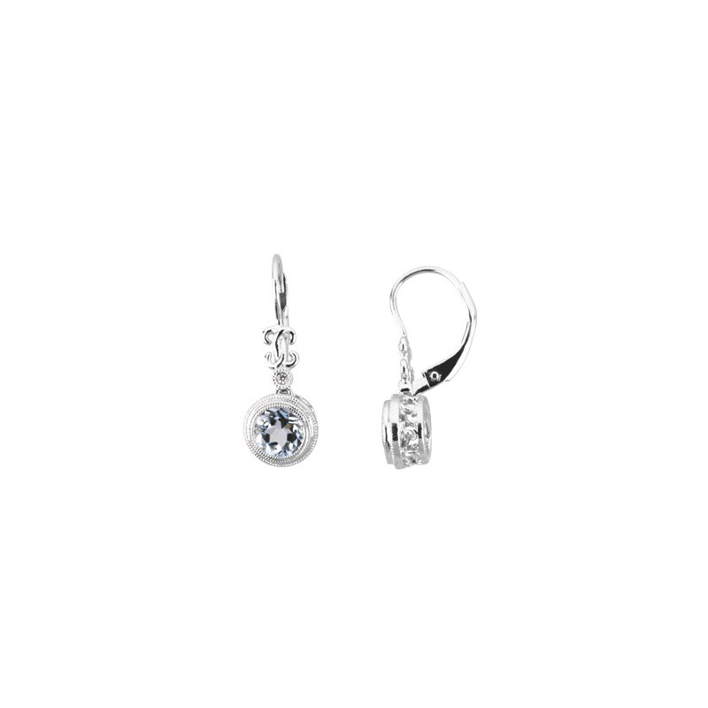 Ladies' Jewelry Genuine Aquamarine & Diamond Earrings