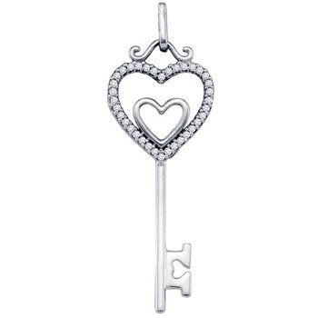 Diamond Heart Key Pendant