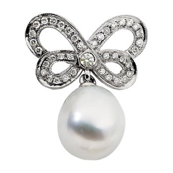 South Sea Cultured Pearl & Diamond Butterfly Brooch