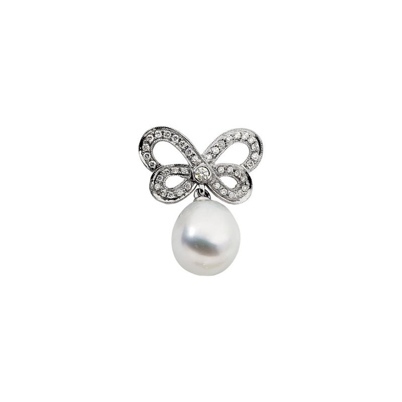 Ladies' Jewelry South Sea Cultured Pearl & Diamond Butterfly Brooch