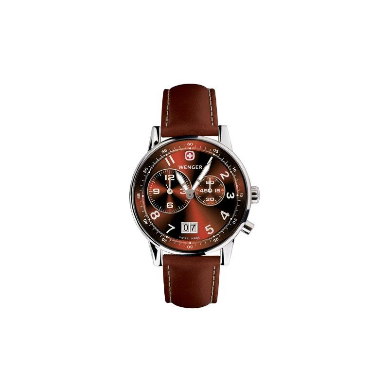 Eisen Watches Wenger Mens Brown Commando Dual Time 2 Eye Watch