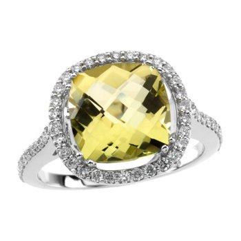 Genuine Lemon Quartz & Diamond Ring