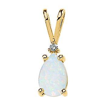 Genuine Opal Cabochon & Diamond Pendant
