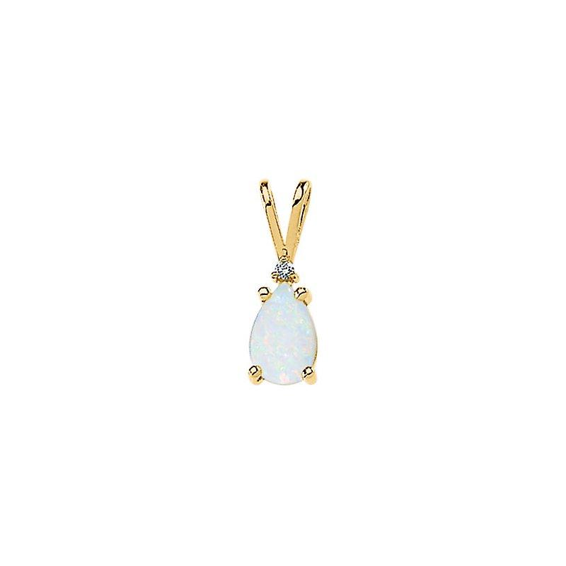 Holiday Ideas Genuine Opal Cabochon & Diamond Pendant