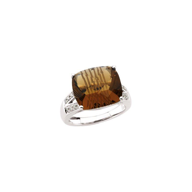 Holiday Ideas Genuine Carved Honey Quartz & Diamond Ring