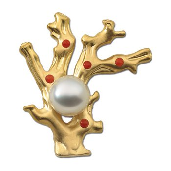 South Sea Cultured Pearl & Coral Brooch