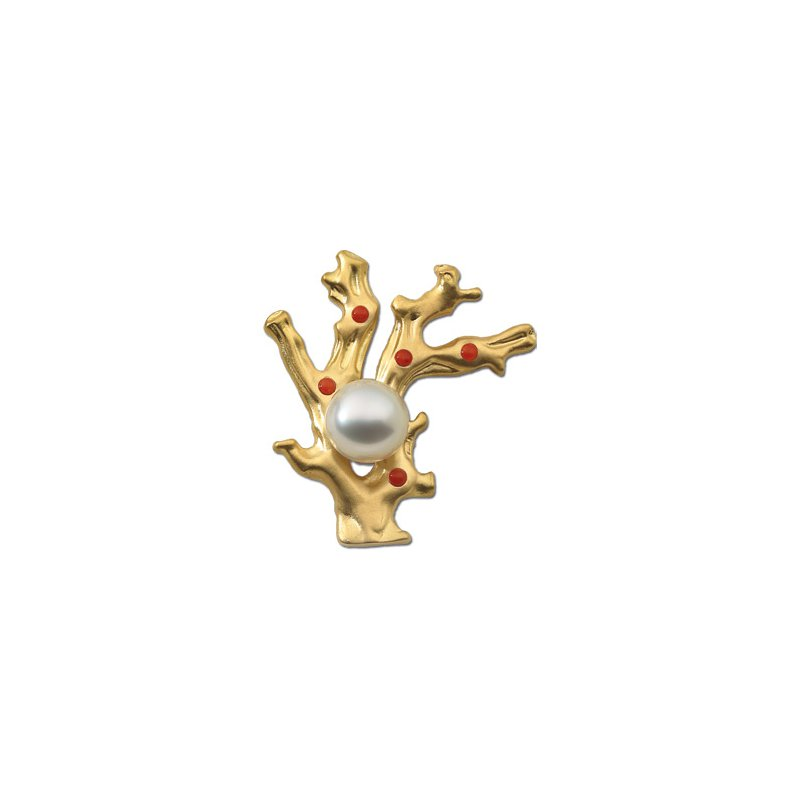 Ladies' Jewelry South Sea Cultured Pearl & Coral Brooch