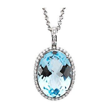 Genuine Checkerboard Sky Blue Topaz & Diamond Necklace