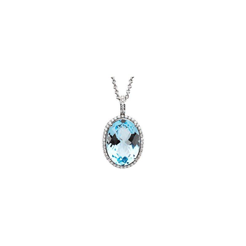 Ladies' Jewelry Genuine Checkerboard Sky Blue Topaz & Diamond Necklace