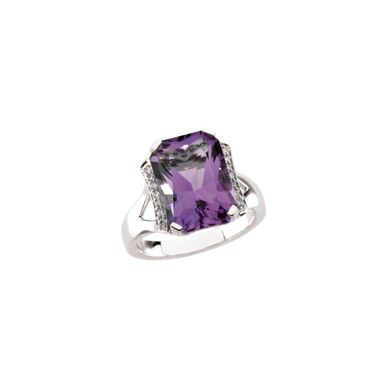 Holiday Ideas Genuine Amethyst & Diamond Ring