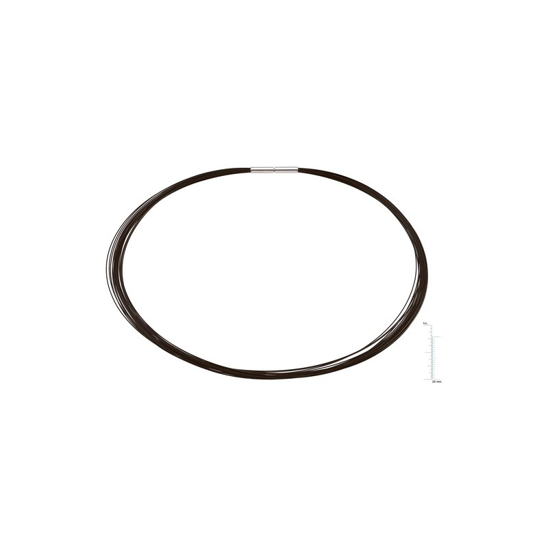 Ladies' Jewelry 25-Strand Black Coated Stainless Cable Chain