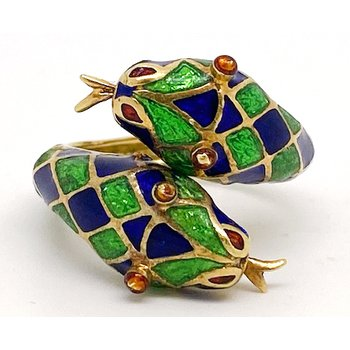 Lady's vintage yellow gold and enamel bypass double snake head ring