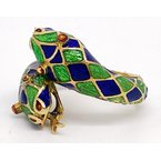 Estate & Vintage Lady's vintage yellow gold and enamel bypass double snake head ring