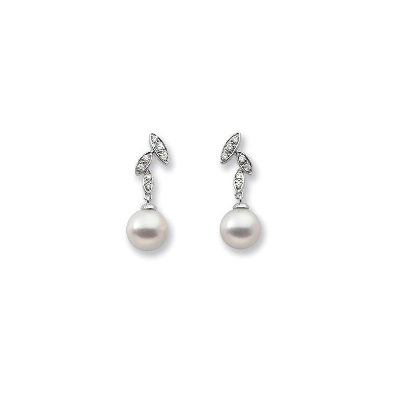 Ladies' Jewelry Freshwater Cultured Pearl & Diamond Earrings