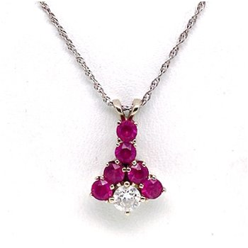 Lady's vintage synthetic ruby, diamond and white gold necklace