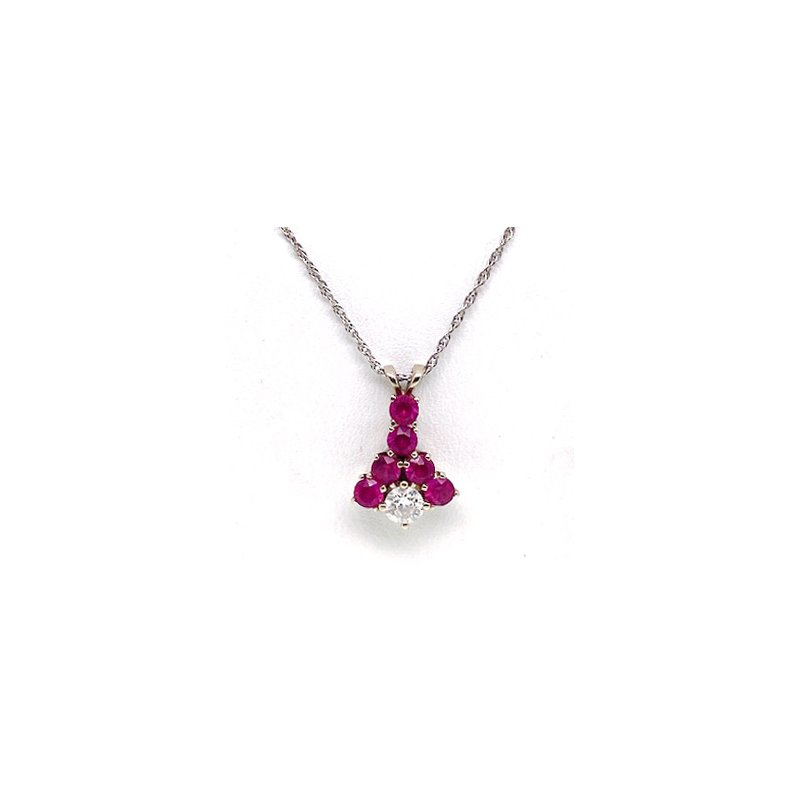 Estate & Vintage Lady's vintage synthetic ruby, diamond and white gold necklace
