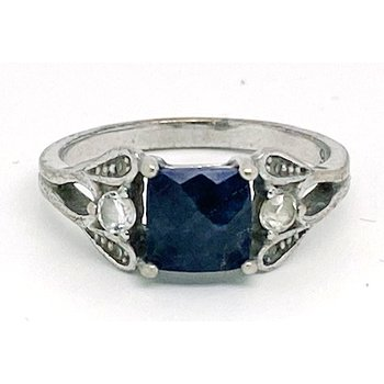 Lady's vintage blue stone, clear stones and silver ring