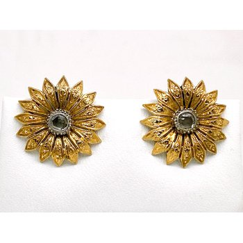 Lady's vintage diamond and yellow gold, flower, clip on earrings