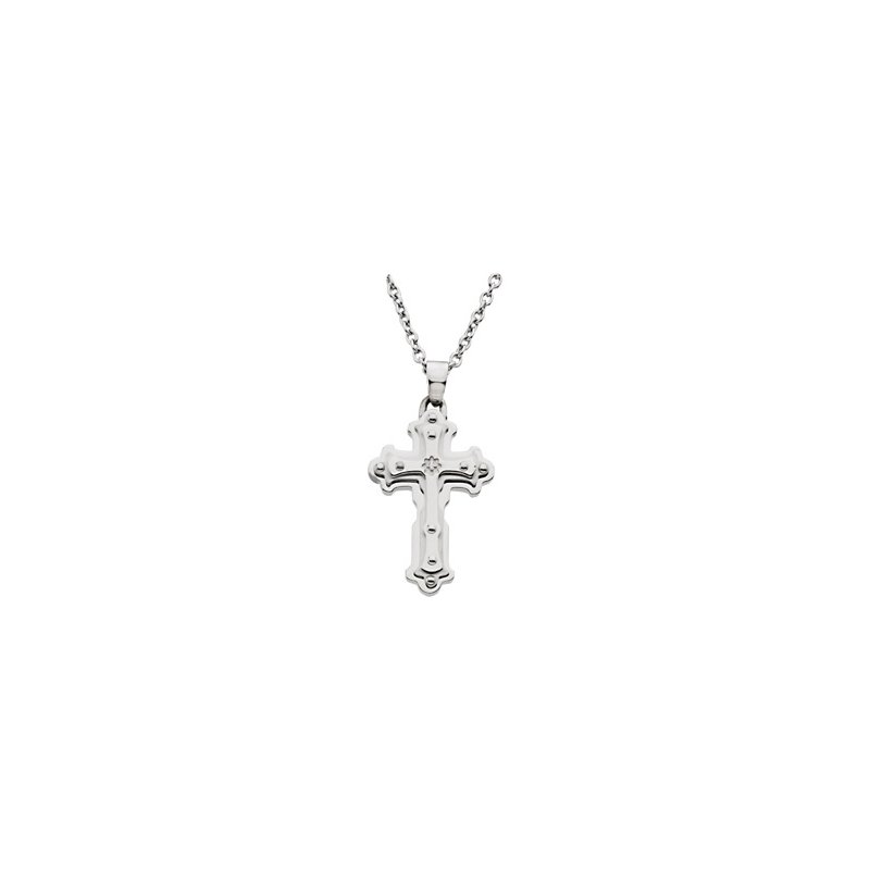 """Holiday Ideas Stainless Steel Diamond Cross on a 18"""" Cable Chain"""