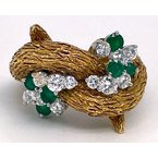 """Estate & Vintage Lady's vintage diamond, emerald, and yellow gold freeform ring, measuring 1"""" wide and 1"""" tall"""