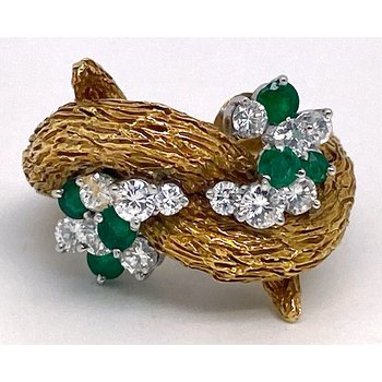 "Lady's vintage diamond, emerald, and yellow gold freeform ring, measuring 1"" wide and 1"" tall"