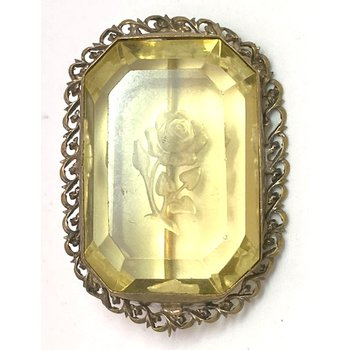 Vintage, glass and gold tone brooch