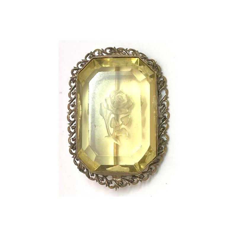 Estate & Vintage Vintage, glass and gold tone brooch