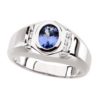 Men's Genuine Tanzanite & Diamond Ring