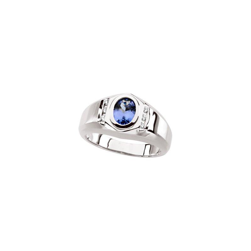 Men's Jewelry Men's Genuine Tanzanite & Diamond Ring