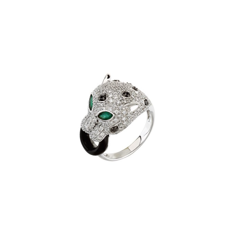 Holiday Ideas Genuine Emerald, Onyx & Diamond Ring