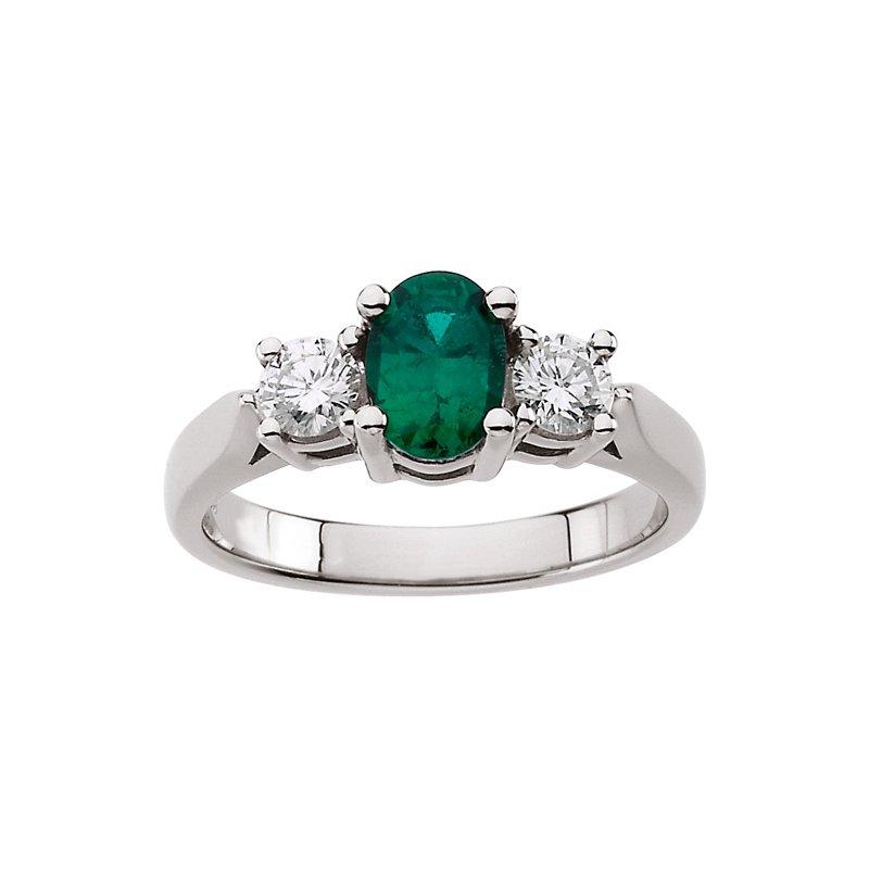 Ladies' Jewelry Genuine Emerald & Diamond Ring