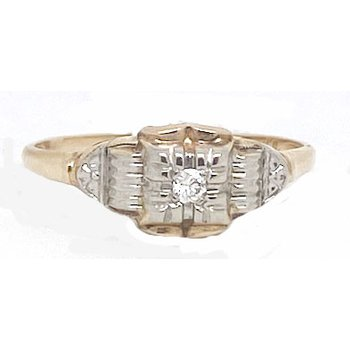 Two-toned God and Diamond, Art Deco style Ring