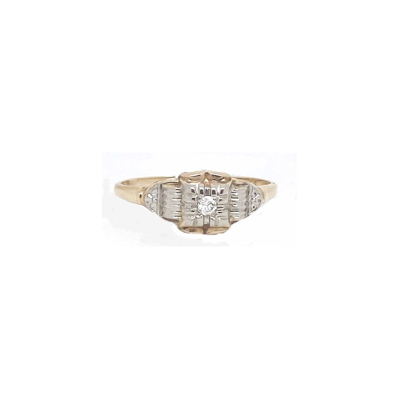 Vintage Bridal Two-toned God and Diamond, Art Deco style Ring