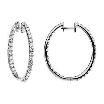 3 ct tw Diamond Inside-Outside Hoop Earrings
