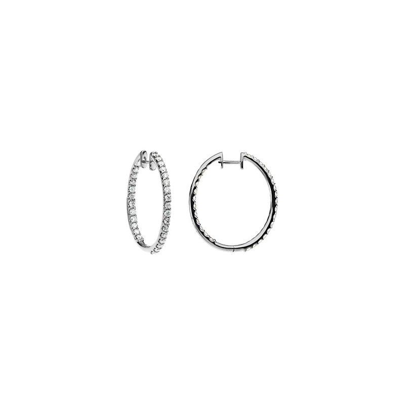 Ladies' Jewelry 3 ct tw Diamond Inside-Outside Hoop Earrings