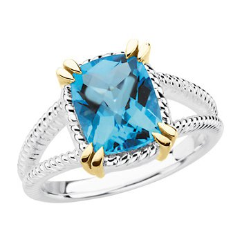 Genuine Checkerboard Swiss Blue Topaz Ring
