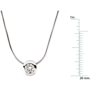 "Moissanite Pendant Slide On 18"" Chain"