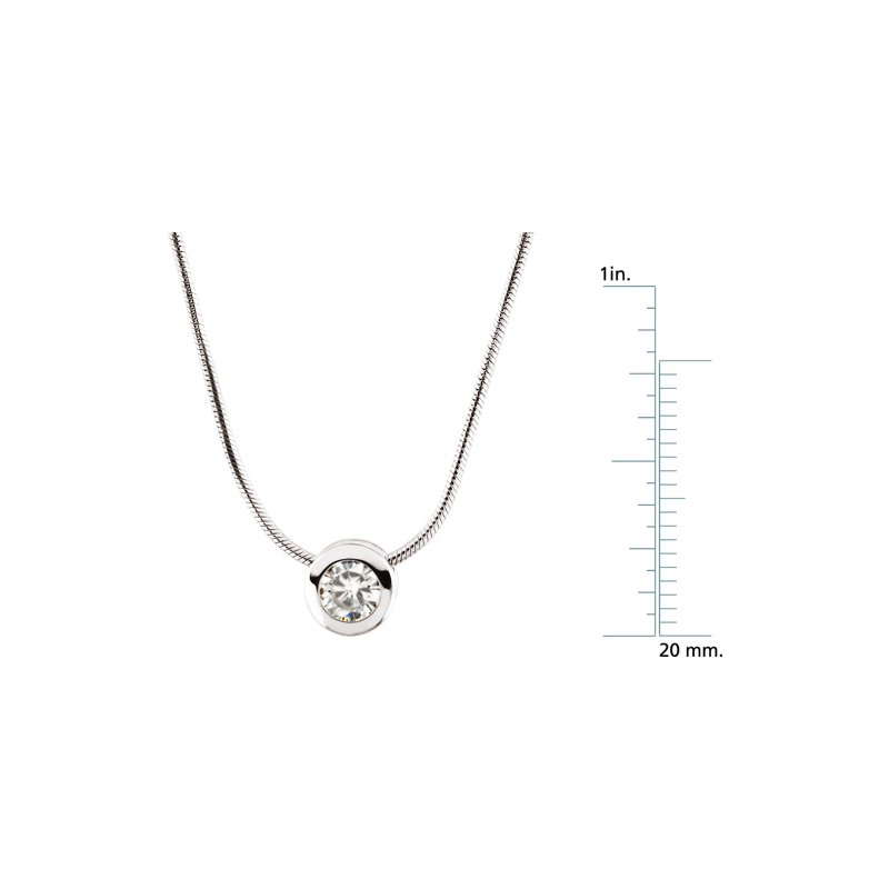 "Ladies' Jewelry Moissanite Pendant Slide On 18"" Chain"