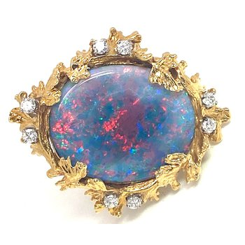 Lady's vintage opal triplet, diamond and yellow gold ring