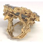 Estate & Vintage Lady's vintage opal triplet, diamond and yellow gold ring