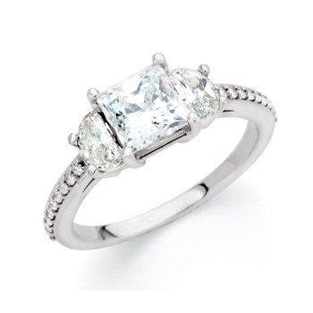 Semi-Mount 3 Stone Engagement Ring