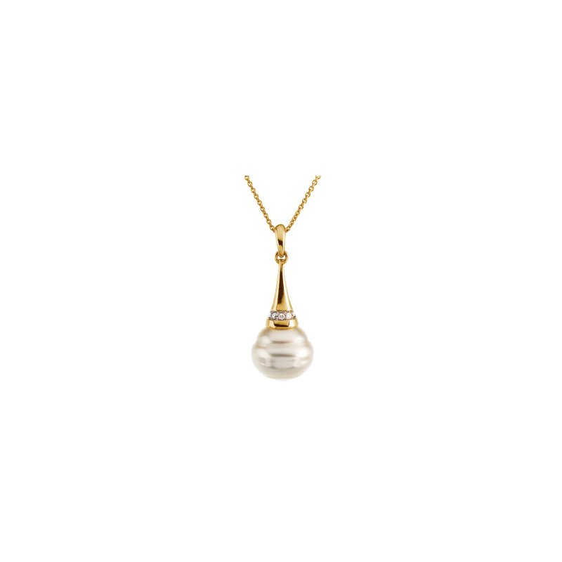 Ladies' Jewelry South Sea Cultured Pearl & Diamond Necklace