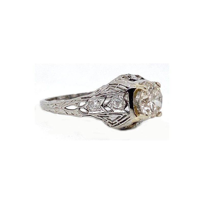 Vintage Bridal Two tone and Diamond, Art Deco Style,Engagement Ring