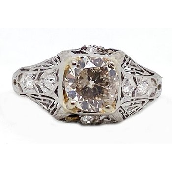 Two tone and Diamond, Art Deco Style,Engagement Ring