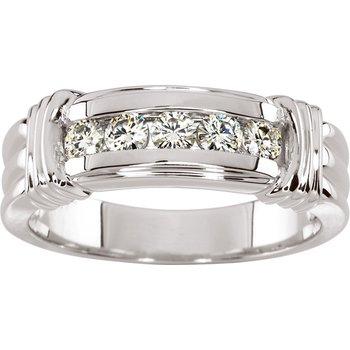 Moissanite Men's Band Ring