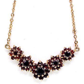 Lady's vintage garnet and yellow gold tone necklace