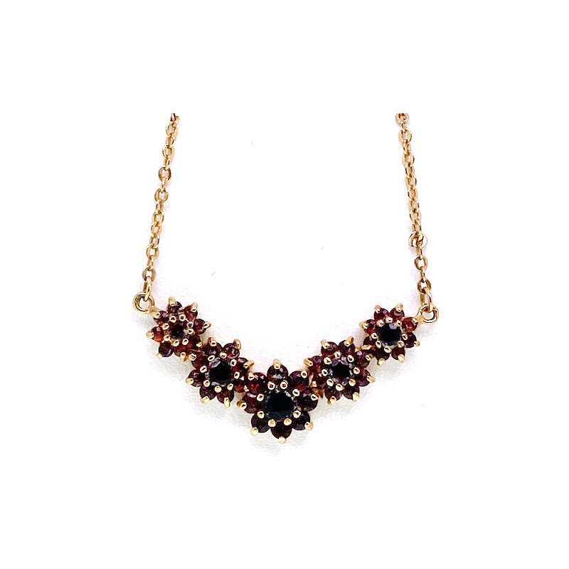 Estate & Vintage Lady's vintage garnet and yellow gold tone necklace
